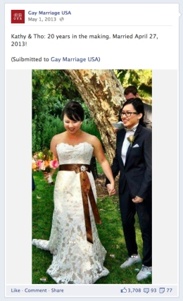 Sarah Wong Beauty Artistry on Gay Marriage USA Facebook Page